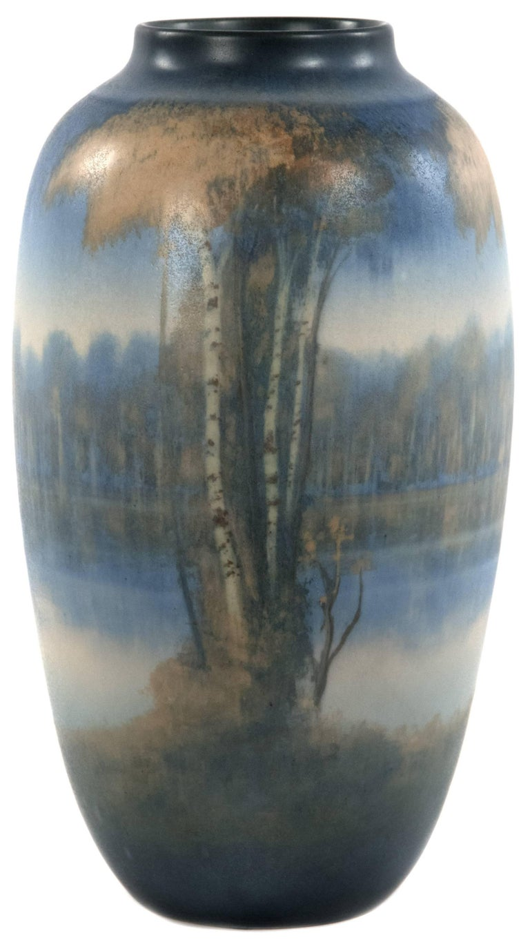 American Rookwood Vellum Glazed River Scene Vase by Edward Timothy Hurley For Sale