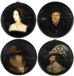 A Set of Four Royal English Portraits on Metal Rounds