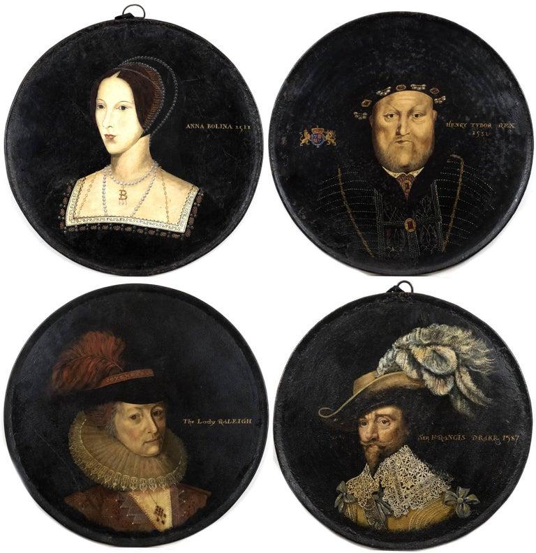 A Set of Four Royal English Portraits on Metal Rounds