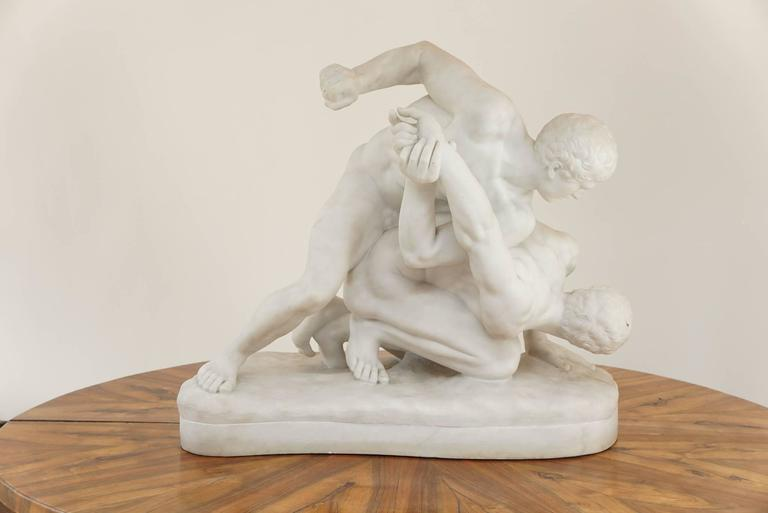 Exquisite last quarter 19th century Italian Grand Tour carved statuary marble sculpture of large scale depicting the