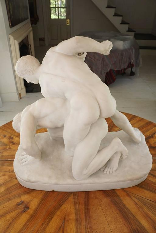 Carved Grand Tour Marble Group of The Pancrastinae or Wrestlers For Sale