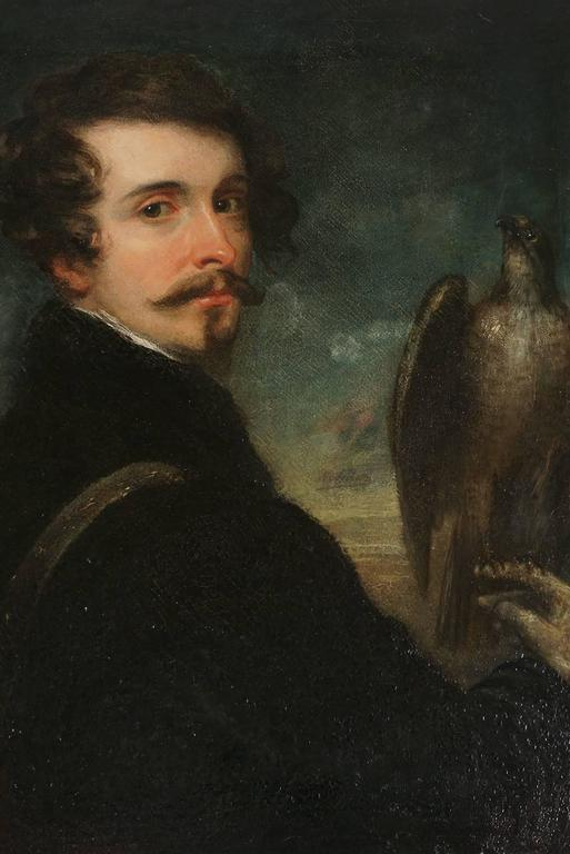 German Romantic School Portrait of a Gentleman Falconer, circa 1830 For Sale 2