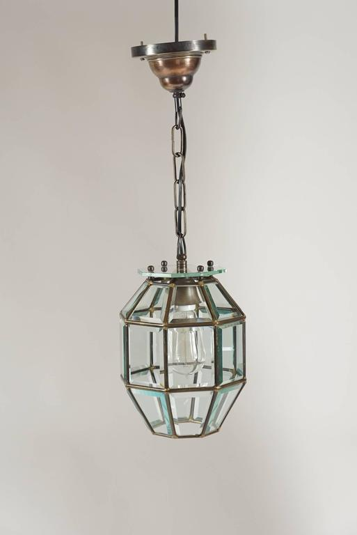 Vienna Secession Leaded and Beveled Glass Pendant Light Attributed to Adolf Loos, circa 1905 For Sale