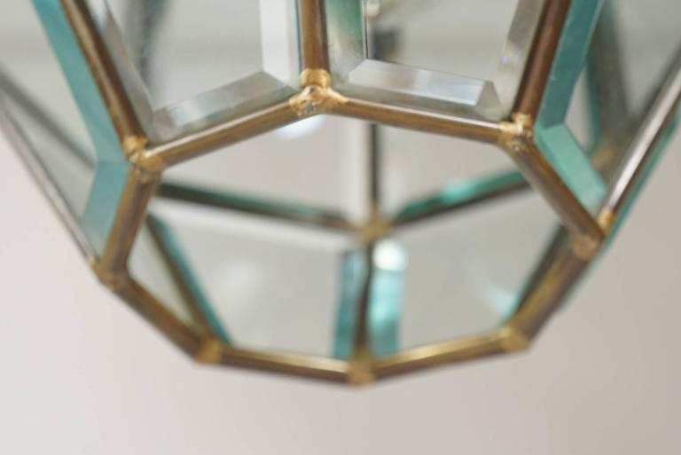 20th Century Leaded and Beveled Glass Pendant Light Attributed to Adolf Loos, circa 1905 For Sale