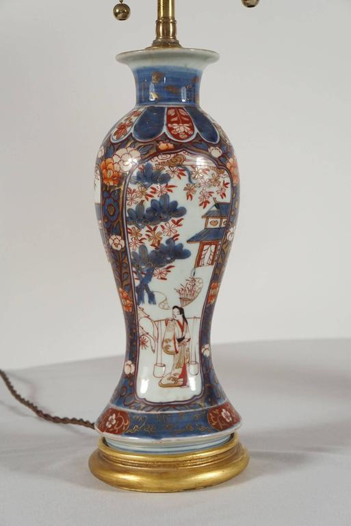 18th Century and Earlier Chinese Export Imari Baluster Vase Table Lamps, Pair For Sale