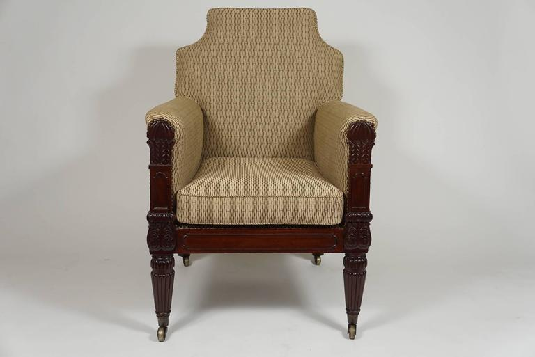 George III English Regency Mahogany Bergere or Armchair, circa 1815 In Good Condition For Sale In Kinderhook, NY