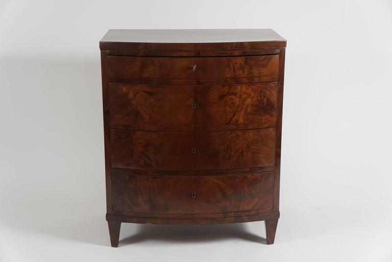 An Elegant, Richly Grained Mahogany Bacheloru0027s Chest Or Petite Commode, Of Bow  Front Form Nice Design