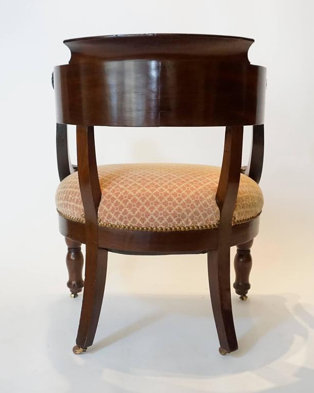 French Empire Mahogany Fauteuil De Bureau Armchair, circa 1810 For Sale 1