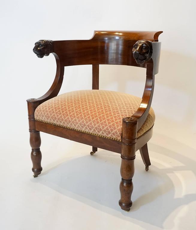 Hand-Carved French Empire Mahogany Fauteuil De Bureau Armchair, circa 1810 For Sale