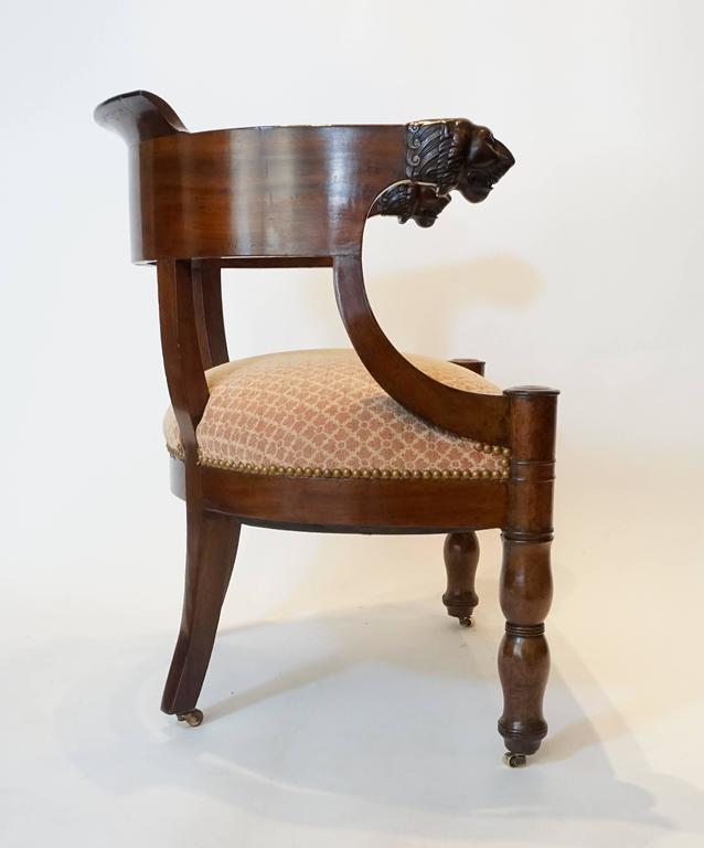 19th Century French Empire Mahogany Fauteuil De Bureau Armchair, circa 1810 For Sale