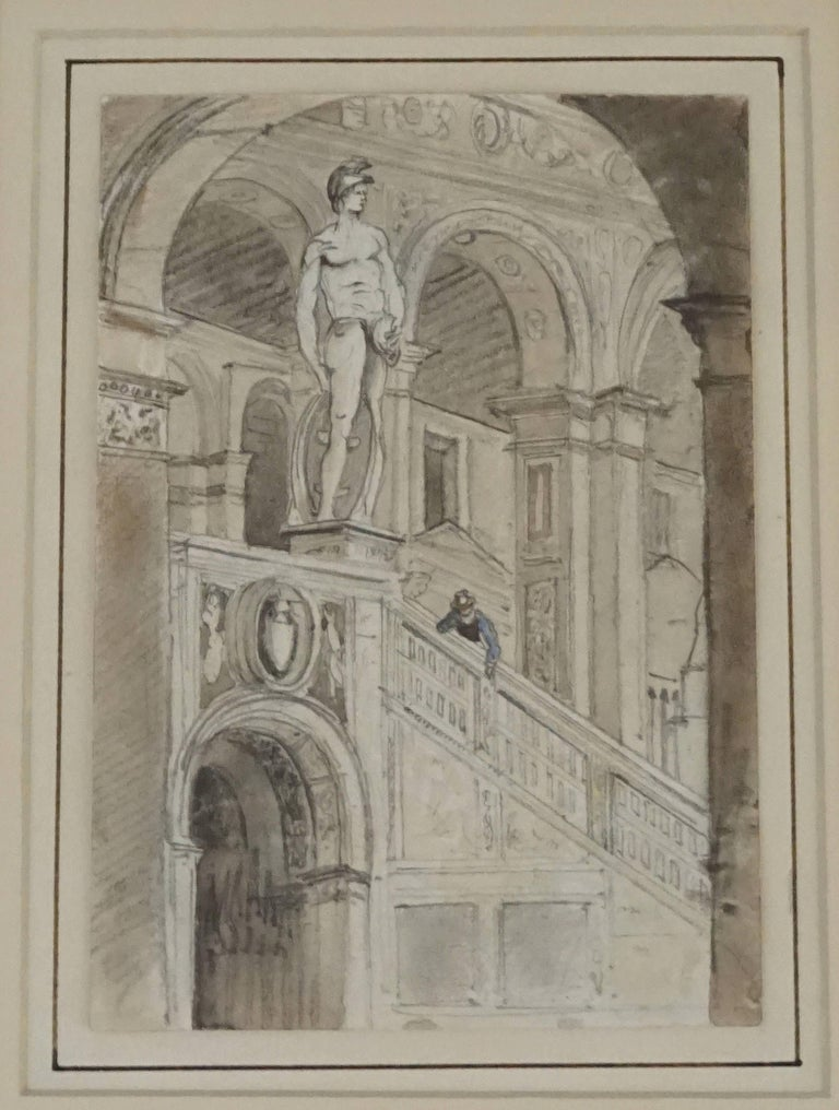 Grand tour charcoal and watercolor architectural drawing for Architectural drawings for sale
