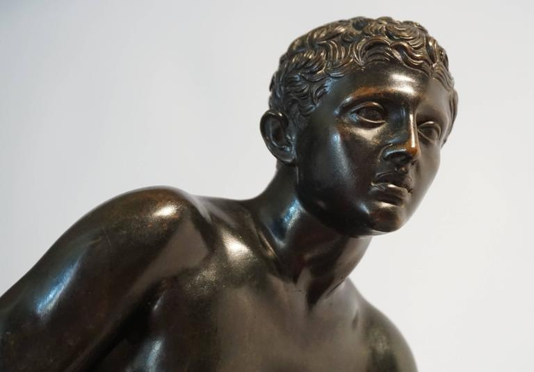 Italian Grand Tour Bronze and Marble Sculpture of the 'Seated Hermes' or Mercury For Sale