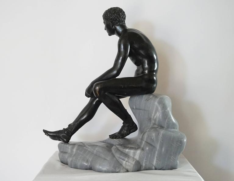 Grand Tour Bronze and Marble Sculpture of the 'Seated Hermes' or Mercury For Sale 1
