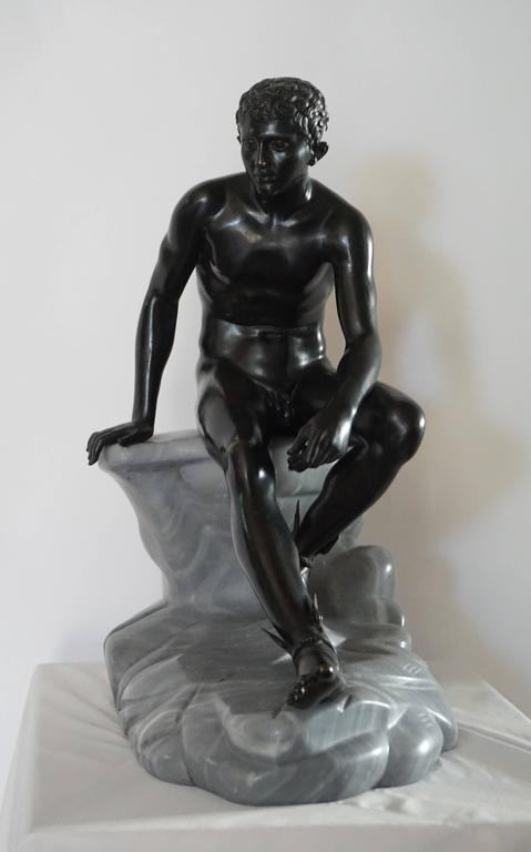 19th Century Grand Tour Bronze and Marble Sculpture of the 'Seated Hermes' or Mercury For Sale