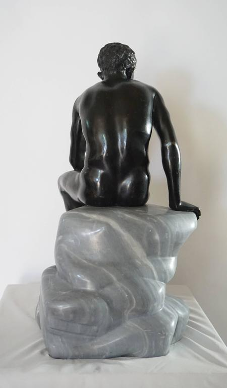 Grand Tour Bronze and Marble Sculpture of the 'Seated Hermes' or Mercury For Sale 3