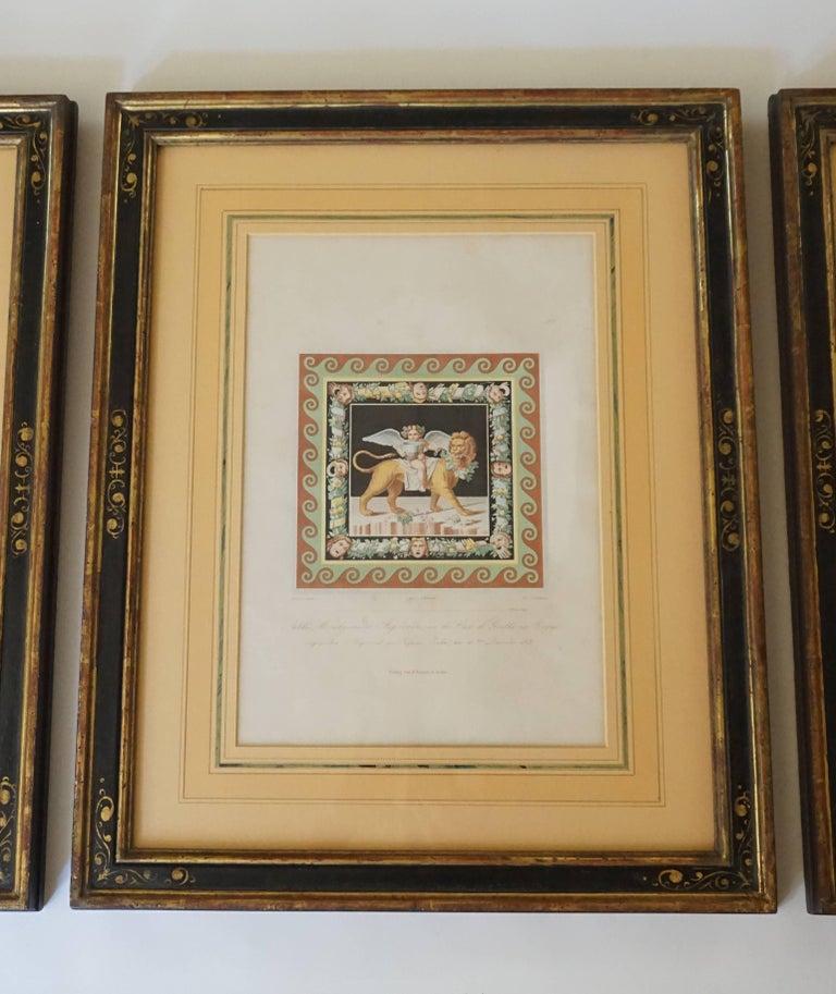 Classical Roman Three-Framed Classical Chromolithographs by Wilhelm Johann Karl Zahn, 1843 For Sale