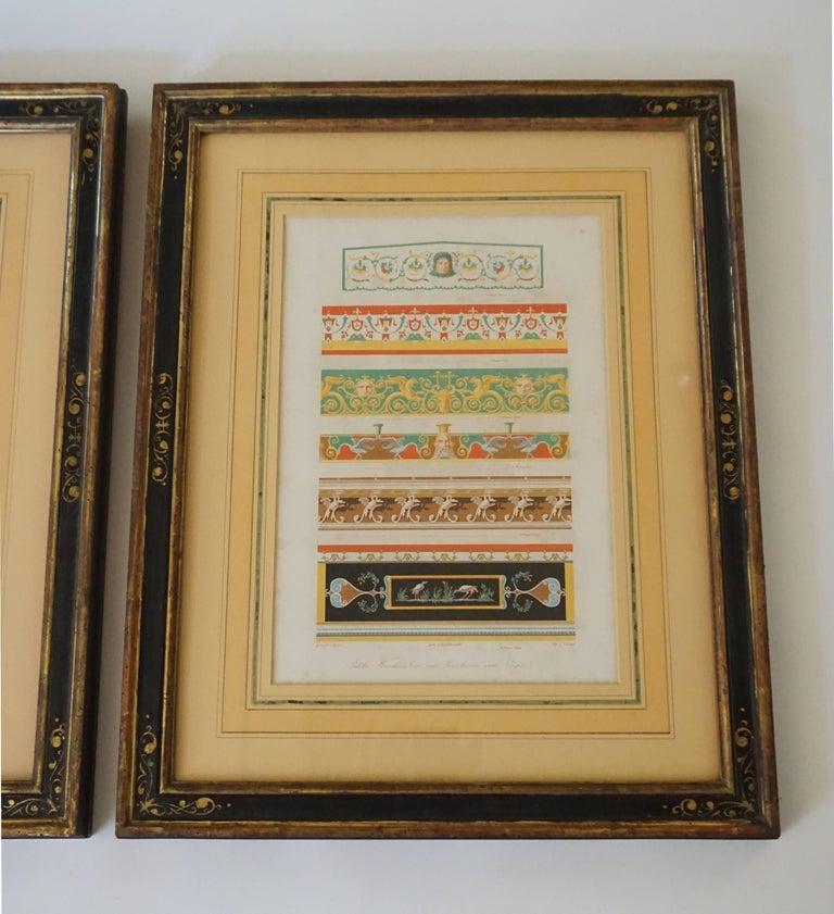 German Three-Framed Classical Chromolithographs by Wilhelm Johann Karl Zahn, 1843 For Sale