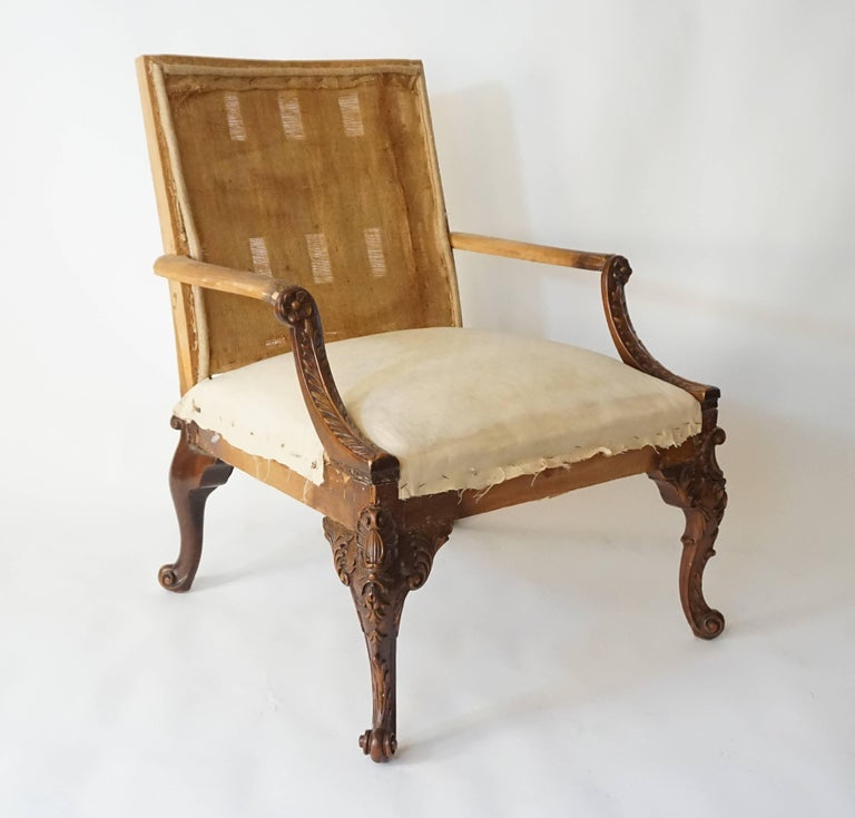 George III Rococo Style Gainsborough Library Chair, Manner of Giles Grendey For Sale 1