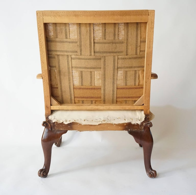 Hand-Carved George III Rococo Style Gainsborough Library Chair, Manner of Giles Grendey For Sale