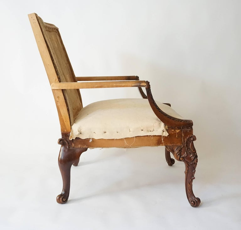 English George III Rococo Style Gainsborough Library Chair, Manner of Giles Grendey For Sale
