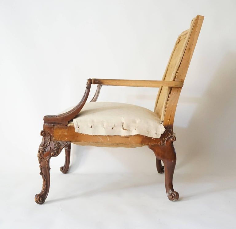 George III Rococo Style Gainsborough Library Chair, Manner of Giles Grendey In Excellent Condition For Sale In Kinderhook, NY