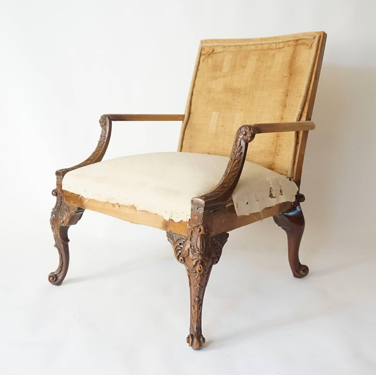 George III Rococo Style Gainsborough Library Chair, Manner of Giles Grendey For Sale 2