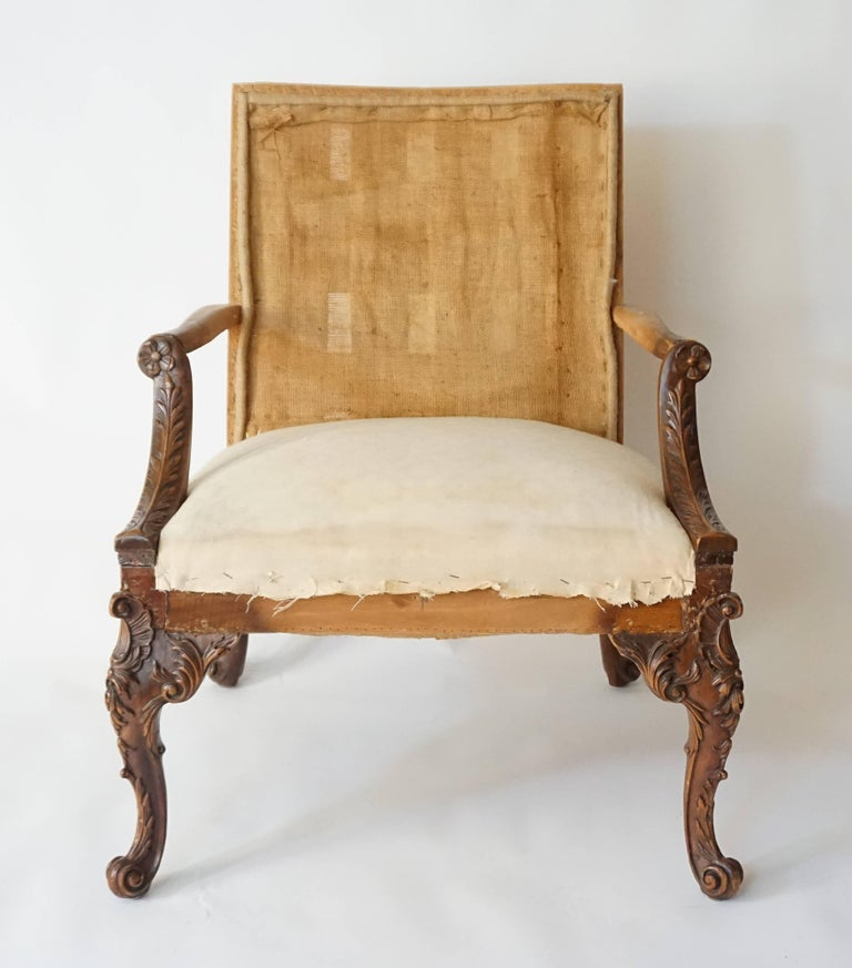 Mahogany George III Rococo Style Gainsborough Library Chair, Manner of Giles Grendey For Sale