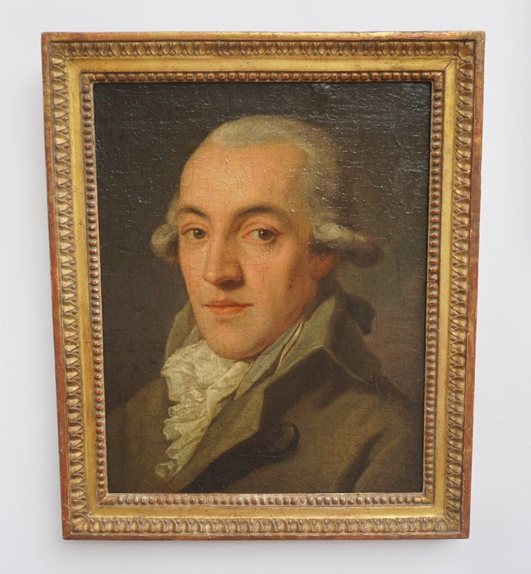 18th Century Portrait Painting of a Bewigged Gentleman, Prague, circa 1780 For Sale