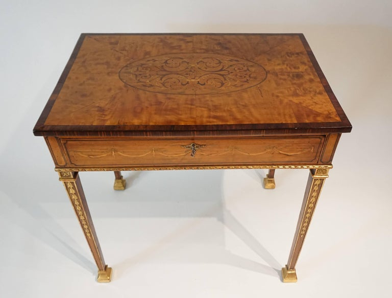 Russian Neoclassical Parcel-Gilt Satinwood and Marquetry Side Table, circa 1785 3