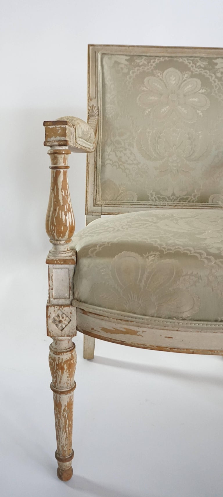 French Directoire Fauteuil in Original Paint For Sale 2