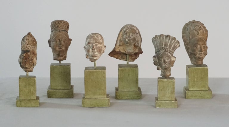 Collection of Six Ancient Indian Gandharan Period Terracotta Miniature Busts 2