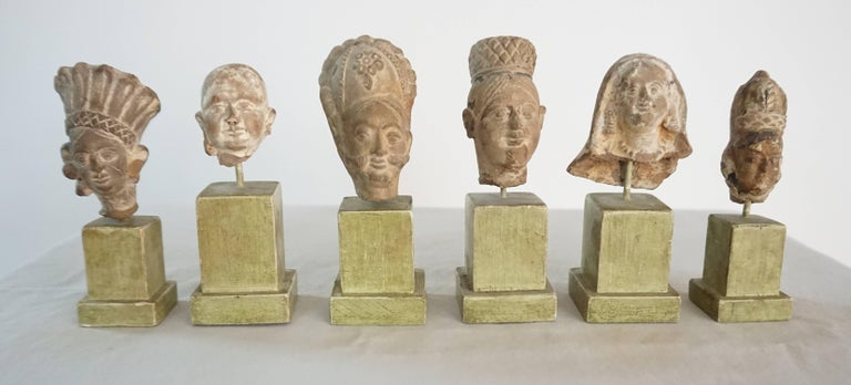 Collection of Six Ancient Indian Gandharan Period Terracotta Miniature Busts 10