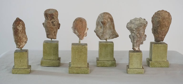 Collection of Six Ancient Indian Gandharan Period Terracotta Miniature Busts 3