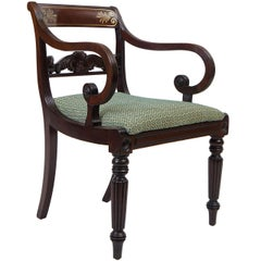 English Regency Neoclassical Brass-Inlaid Mahogany Armchair, circa 1815
