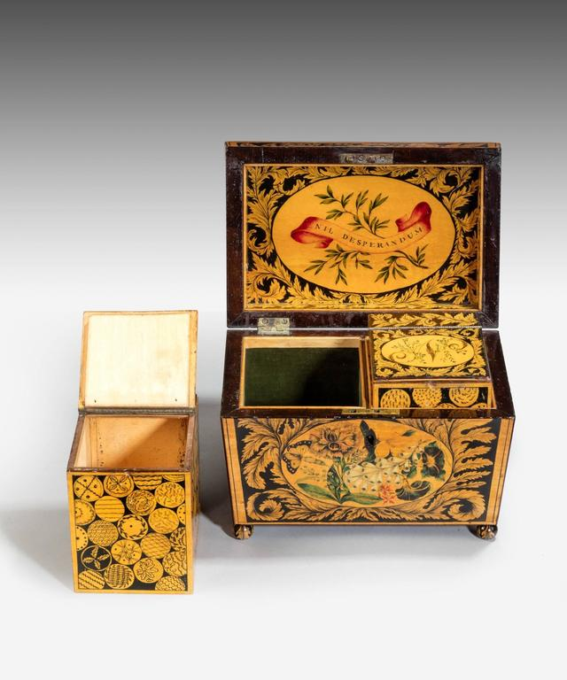 English Regency Tea Caddy Decorated with Penwork For Sale