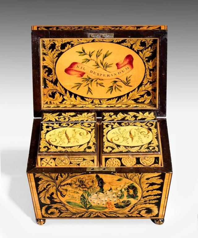 Painted Regency Tea Caddy Decorated with Penwork For Sale
