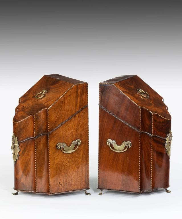 English Pair of Georgian Mahogany Knife Boxes For Sale