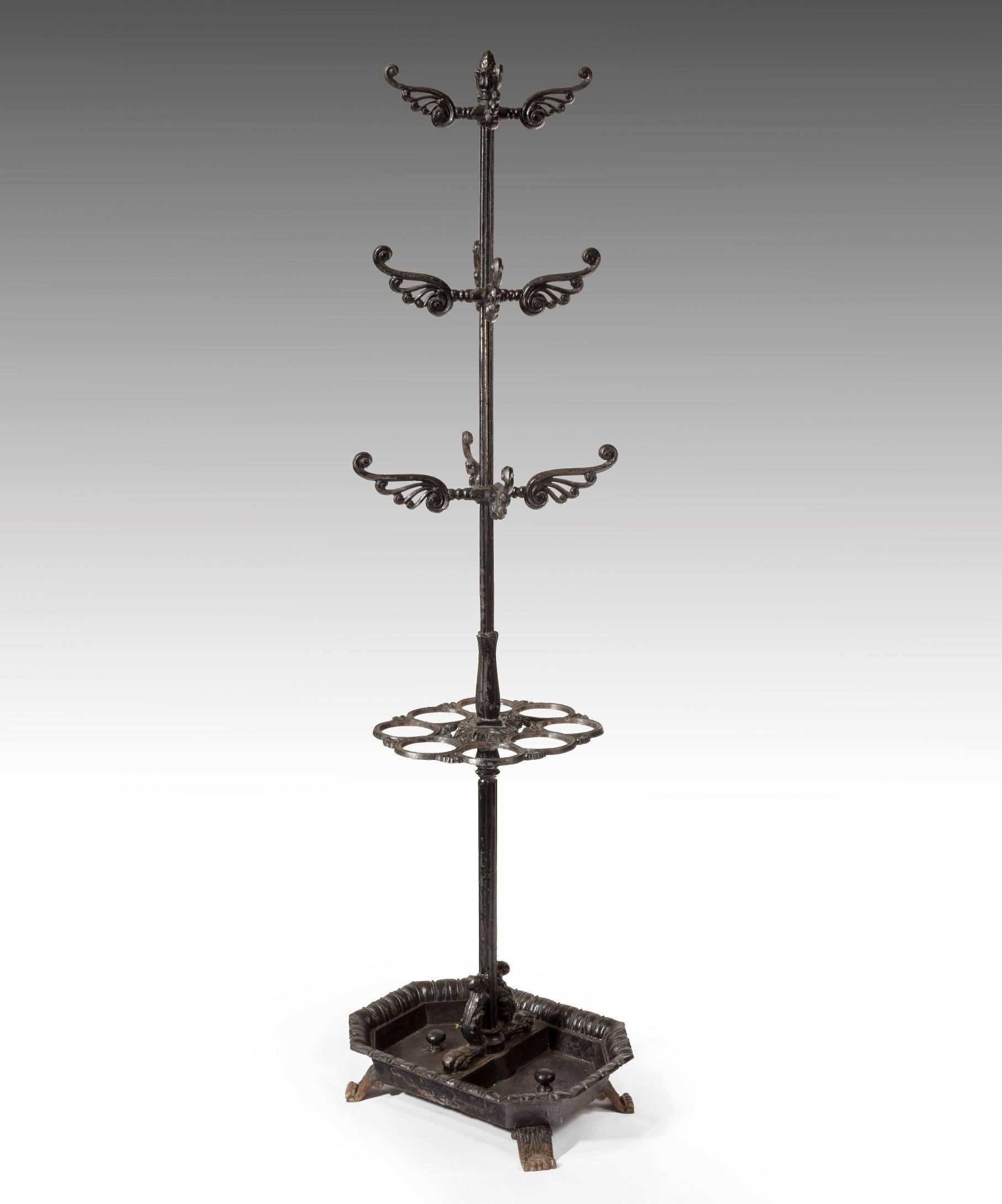 Victorian Umbrella, Coat And Hat Hall Stand In Cast Iron
