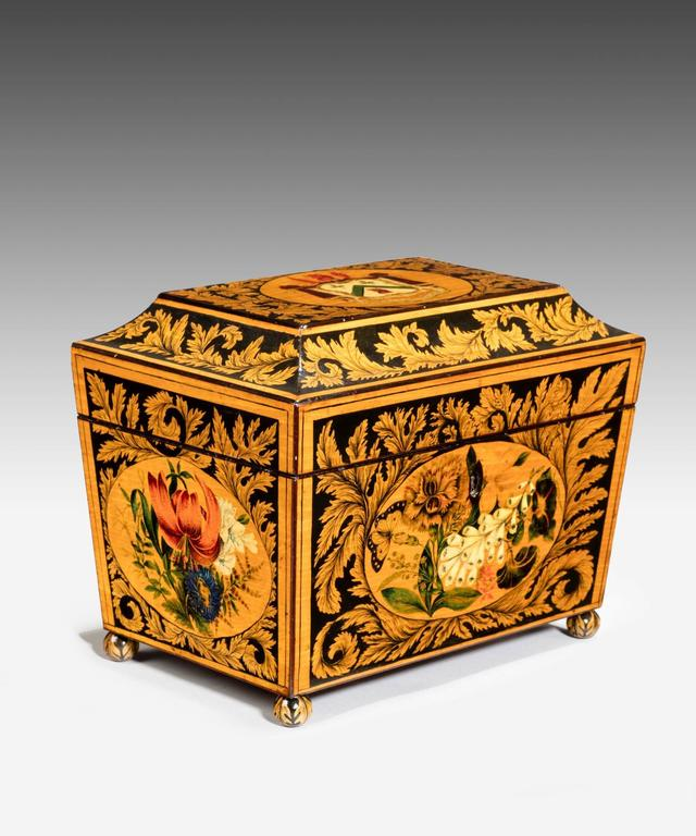 Regency Tea Caddy Decorated with Penwork In Excellent Condition For Sale In London, GB