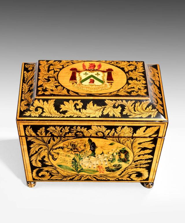 19th Century Regency Tea Caddy Decorated with Penwork For Sale