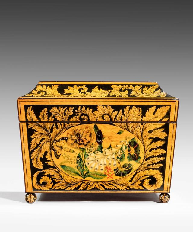 Fruitwood Regency Tea Caddy Decorated with Penwork For Sale