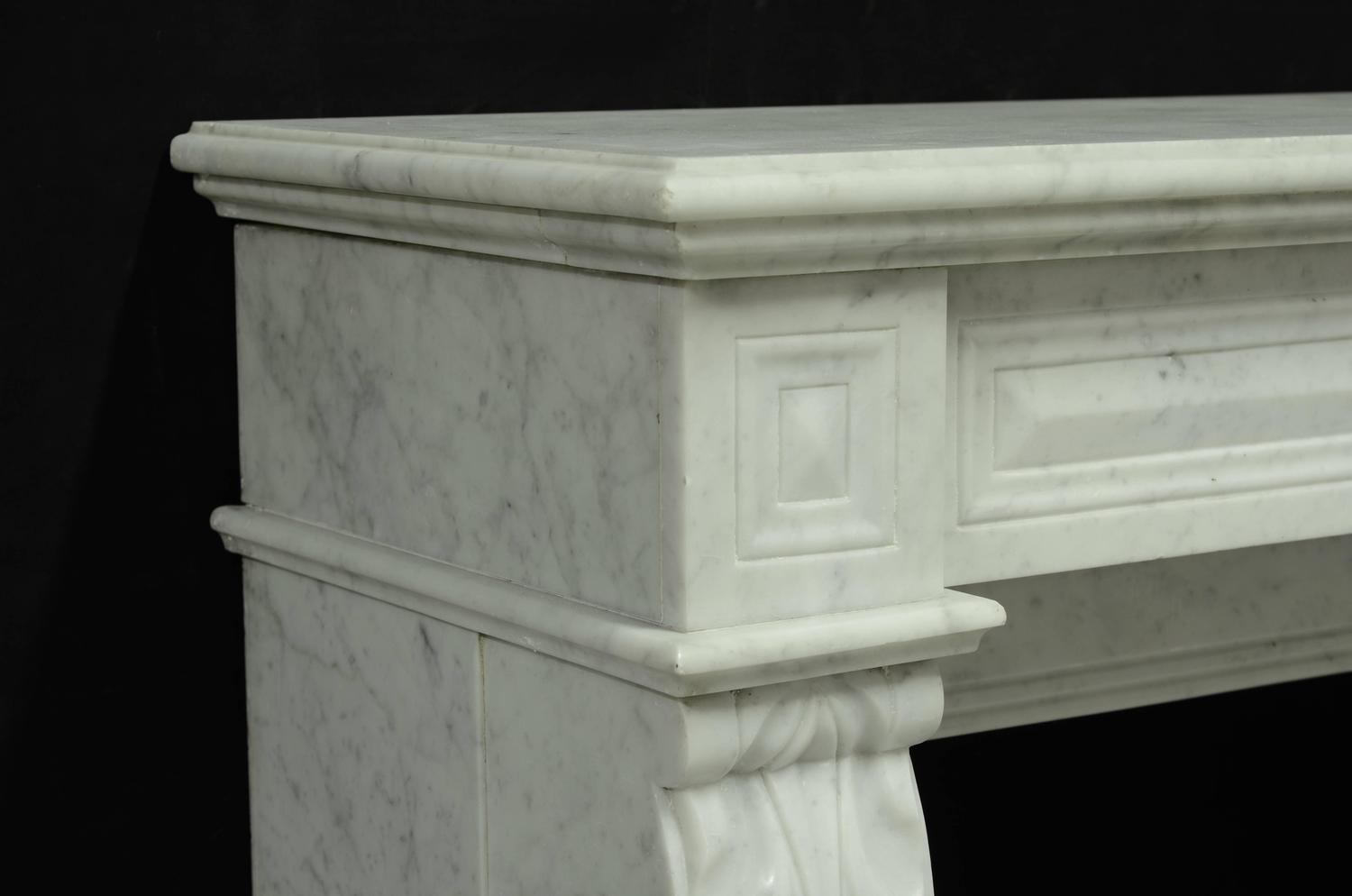 Small White Marble Louis XVI Fireplace 19th Century For