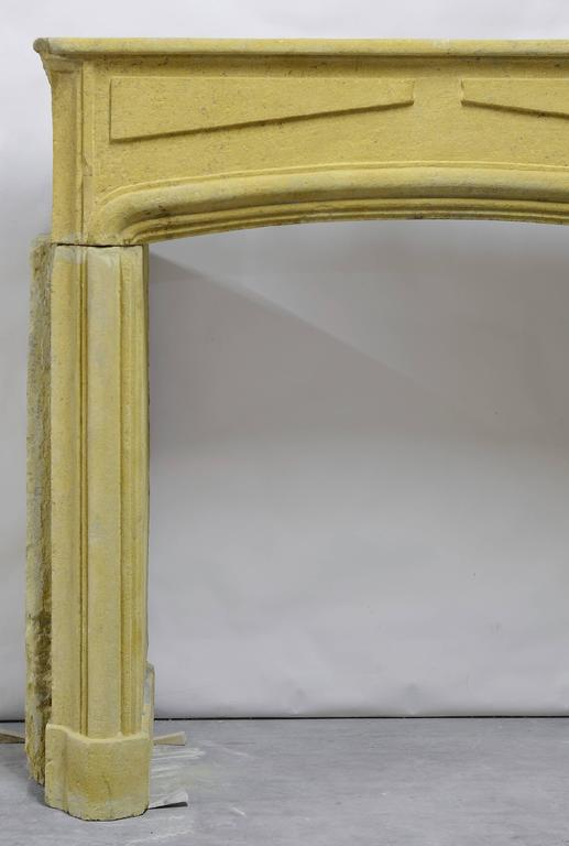 French Rustic Limestone Louis XIV Fireplace Mantel For Sale
