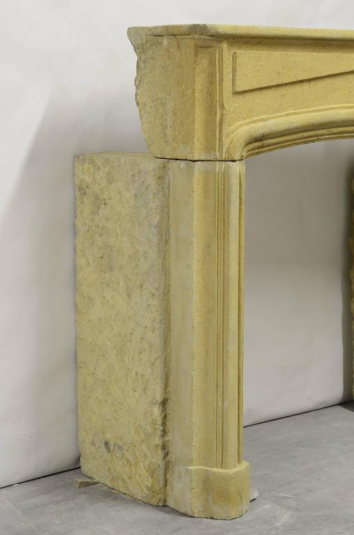 Rustic Limestone Louis XIV Fireplace Mantel For Sale 4