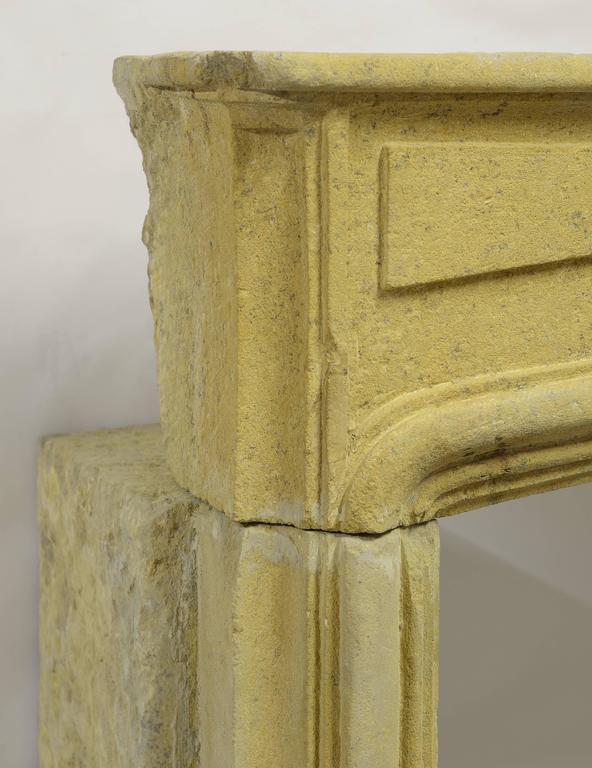 Rustic Limestone Louis XIV Fireplace Mantel For Sale 1
