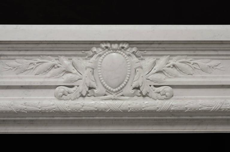 Carved - Monumental - Antique French Louis XVI Fireplace Mantel in Carrara White Marble For Sale