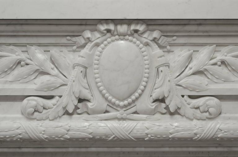 Carrara Marble - Monumental - Antique French Louis XVI Fireplace Mantel in Carrara White Marble For Sale