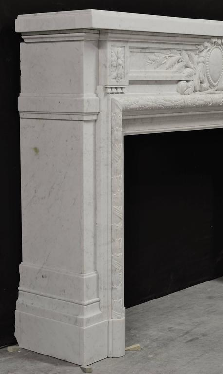 19th Century - Monumental - Antique French Louis XVI Fireplace Mantel in Carrara White Marble For Sale