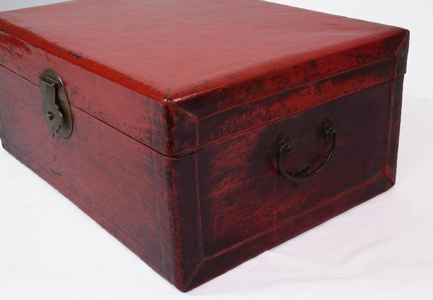 Chinese Red Lacquer Coffee Table Leather Trunk With Brass Hardware 19th Century For Sale At 1stdibs