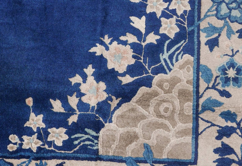 Antique Indigo Blue Beijing Chinese Area Rug Rare Format